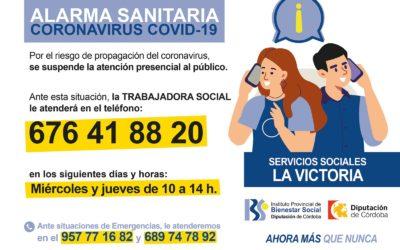 SERVICIOS SOCIALES LA VICTORIA – SITUACIÓN ALARMA SANITARIA