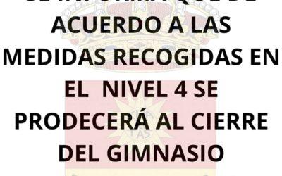 NUEVAS MEDIDAS COVID | CIERRE DEL GIMNASIO A LAS 18:00 h.